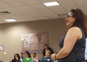 Juliana giving a presentation on self advocacy in Yuma