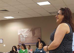 Juliana giving a presentation on self advocacy in Yuma