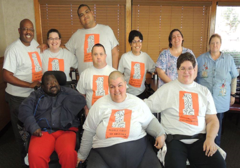 A group picture of the self advocacy group people first of Tucson